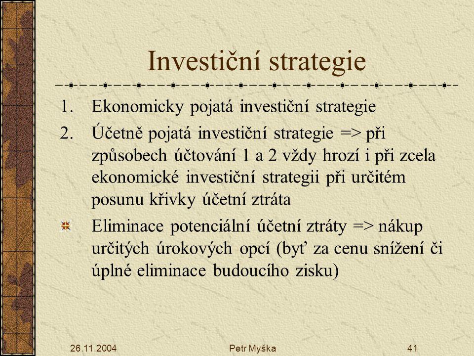 26.11.2004Petr Myška41 Investiční strategie 1.Ekonomicky pojatá investiční strategie 2.Účetně pojatá investiční strategie => při způsobech účtování 1 a 2 vždy hrozí i při zcela ekonomické investiční strategii při určitém posunu křivky účetní ztráta Eliminace potenciální účetní ztráty => nákup určitých úrokových opcí (byť za cenu snížení či úplné eliminace budoucího zisku)
