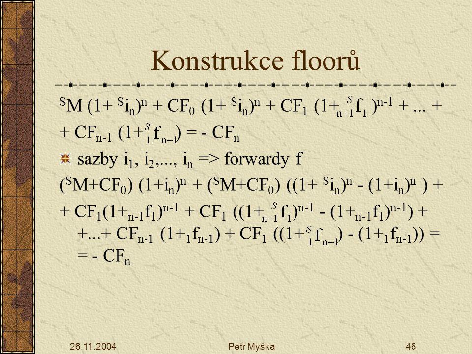 26.11.2004Petr Myška46 Konstrukce floorů S M (1+ S i n ) n + CF 0 (1+ S i n ) n + CF 1 (1+ ) n-1 +...
