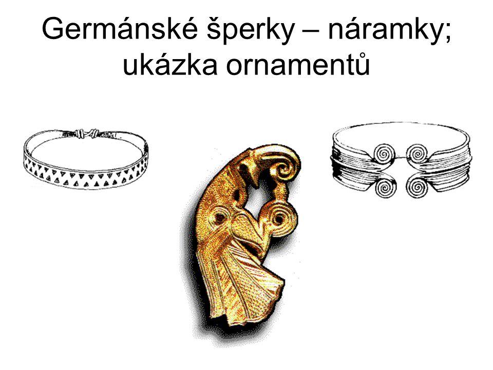Germánské šperky – náramky; ukázka ornamentů