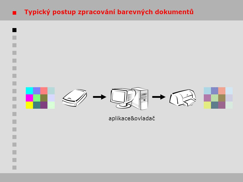 """Kalibrace stolních tiskáren  řada stolních tiskáren dodávána s """"generickými profily možnosti daného zařízení však vždy lépe vystihne """"na míru vytvořený profil  možnosti kalibrace závisí na konkrétním zařízení a ovladači  vypnout funkce automatického zlepšení obrazu – závisí na konkrétním motivu obrazu  rozlišení  zasychání"""