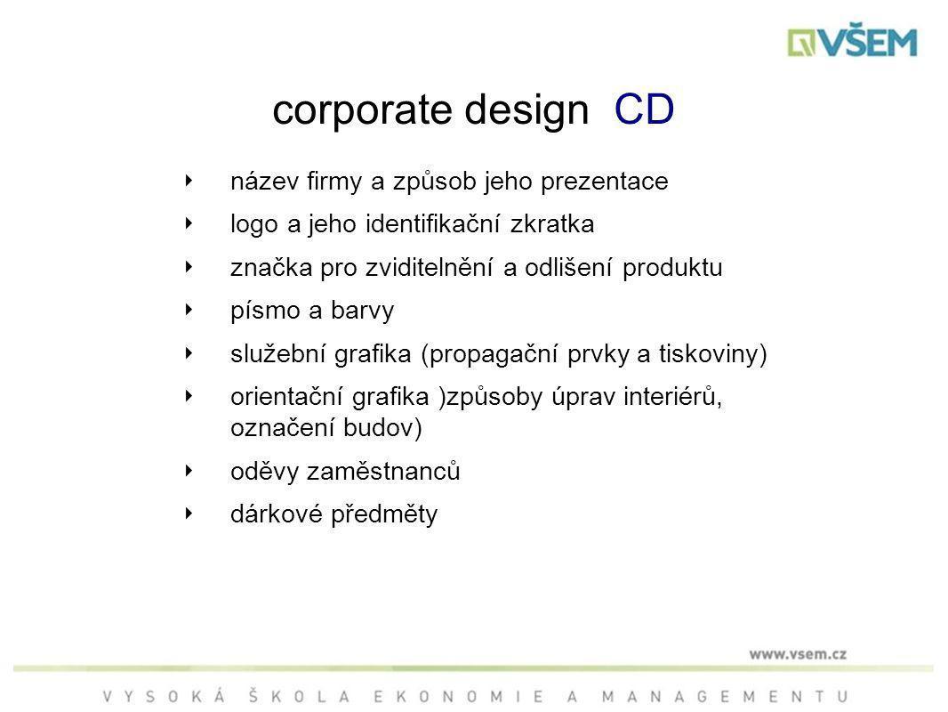 corporate design CD ‣ název firmy a způsob jeho prezentace ‣ logo a jeho identifikační zkratka ‣ značka pro zviditelnění a odlišení produktu ‣ písmo a barvy ‣ služební grafika (propagační prvky a tiskoviny) ‣ orientační grafika )způsoby úprav interiérů, označení budov) ‣ oděvy zaměstnanců ‣ dárkové předměty