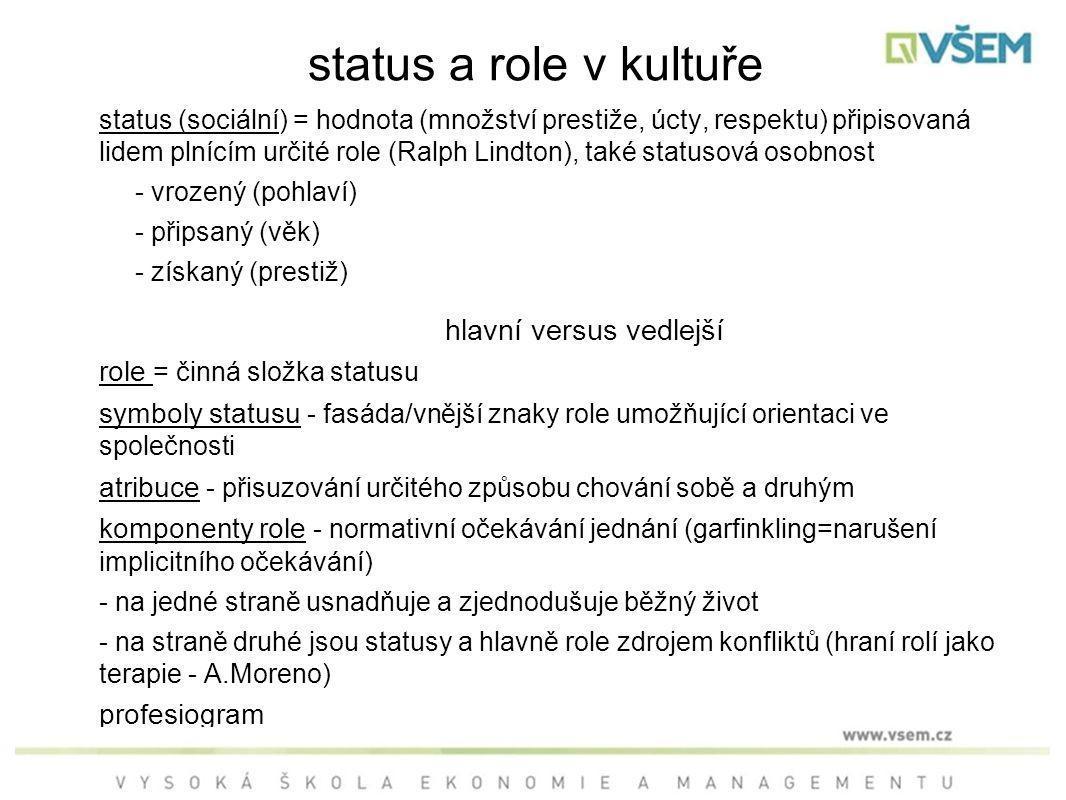 status a role v kultuře status (sociální) = hodnota (množství prestiže, úcty, respektu) připisovaná lidem plnícím určité role (Ralph Lindton), také statusová osobnost - vrozený (pohlaví) - připsaný (věk) - získaný (prestiž) hlavní versus vedlejší role = činná složka statusu symboly statusu - fasáda/vnější znaky role umožňující orientaci ve společnosti atribuce - přisuzování určitého způsobu chování sobě a druhým komponenty role - normativní očekávání jednání (garfinkling=narušení implicitního očekávání) - na jedné straně usnadňuje a zjednodušuje běžný život - na straně druhé jsou statusy a hlavně role zdrojem konfliktů (hraní rolí jako terapie - A.Moreno) profesiogram