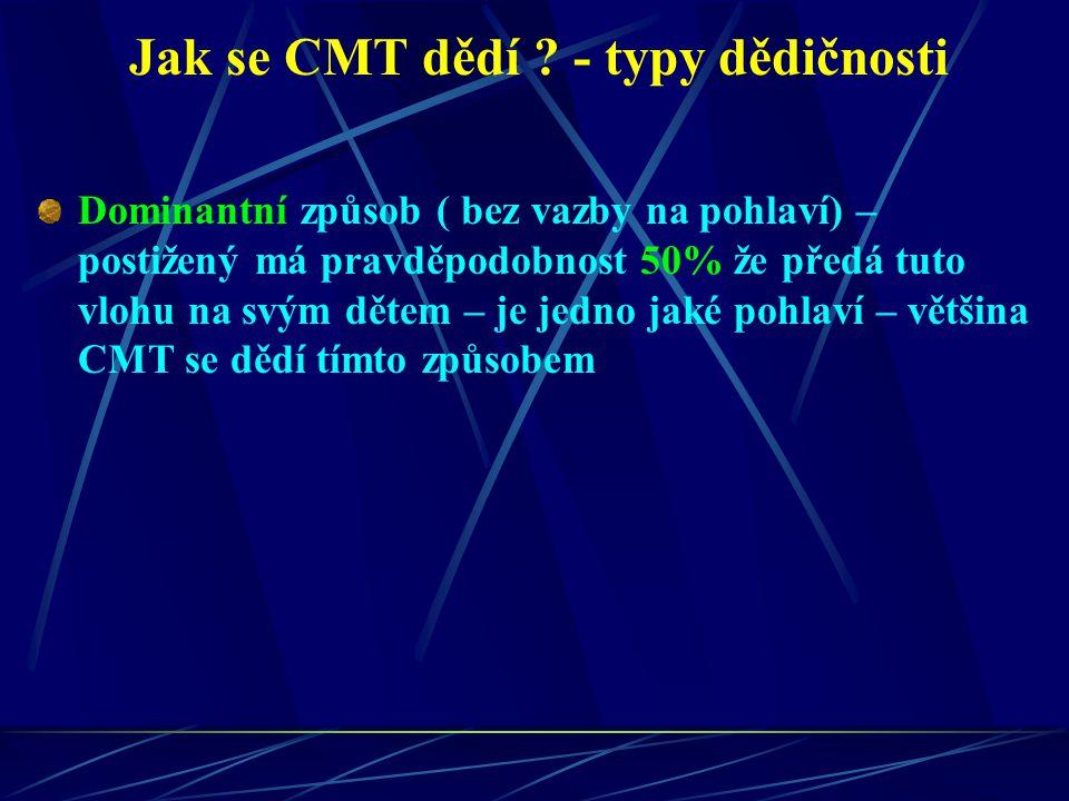 Jak se CMT dědí ? - typy dědičnosti Dominantní způsob ( bez vazby na pohlaví) – postižený má pravděpodobnost 50% že předá tuto vlohu na svým dětem – j