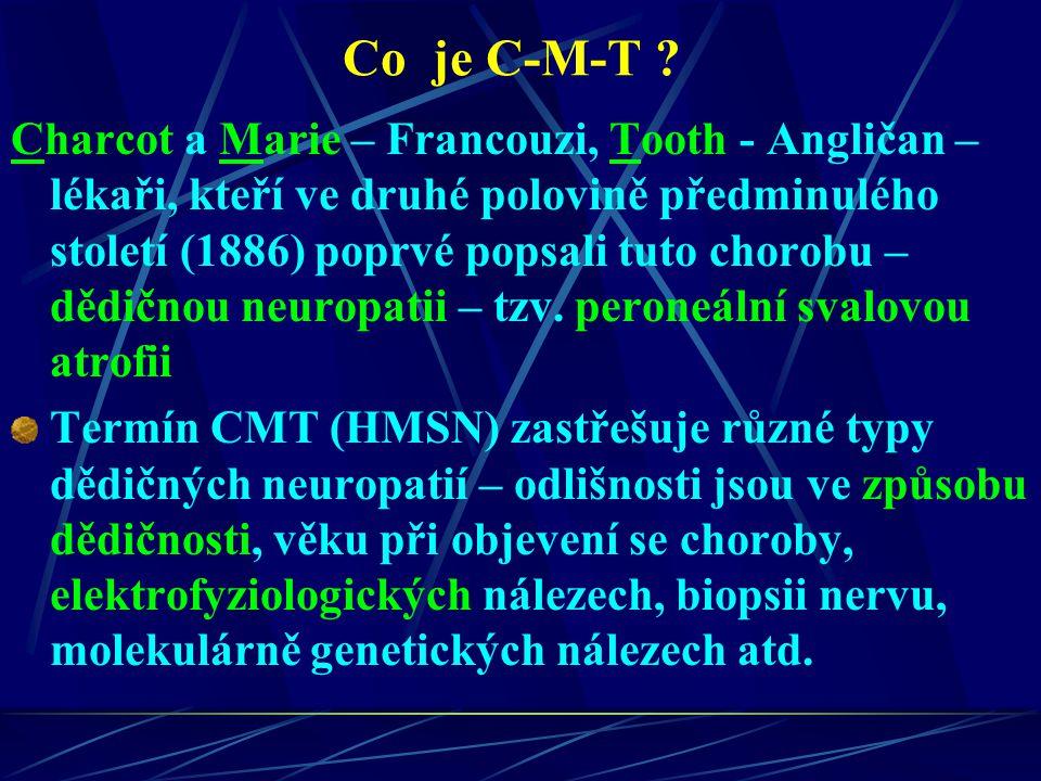 Dědičná neuropatie CMT Nejčastější dědičné nervosvalové onemocnění Projevuje se oslabením distálních – (periferních) svalů končetin v důsledku postižení periferních nervů Oslabení svalů se obvykle pomalu šíří na proximálnější svaly (blíže k trupu) Pacienti většinou trpí zhoršenou chůzí a poruchou citlivosti končetin