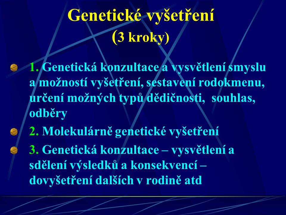 Genetické vyšetření ( 3 kroky) 1. Genetická konzultace a vysvětlení smyslu a možností vyšetření, sestavení rodokmenu, určení možných typů dědičnosti,