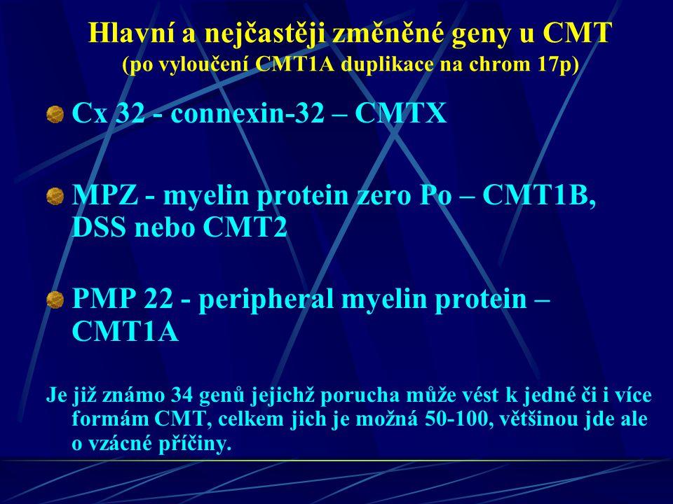 Hlavní a nejčastěji změněné geny u CMT (po vyloučení CMT1A duplikace na chrom 17p) Cx 32 - connexin-32 – CMTX MPZ - myelin protein zero Po – CMT1B, DS