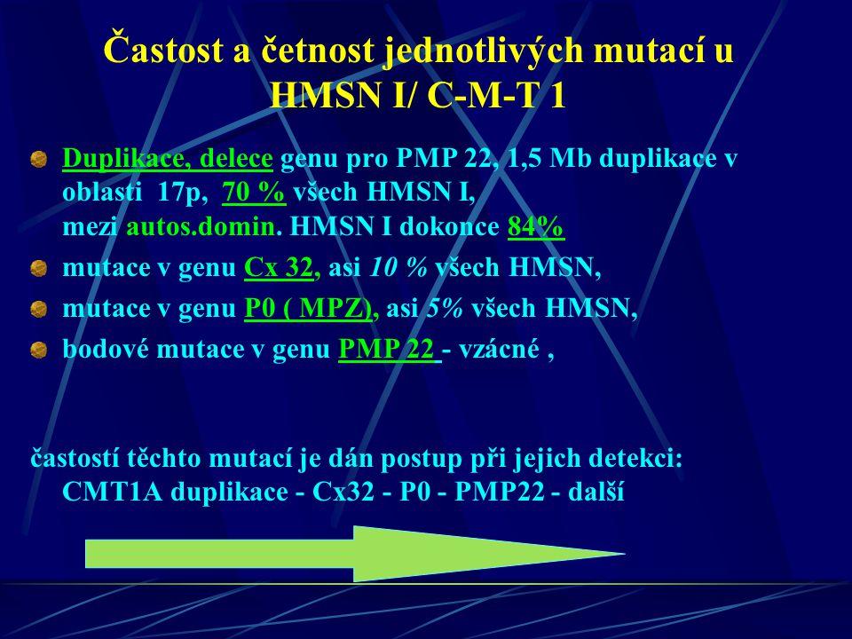 Častost a četnost jednotlivých mutací u HMSN I/ C-M-T 1 Duplikace, delece genu pro PMP 22, 1,5 Mb duplikace v oblasti 17p, 70 % všech HMSN I, mezi aut