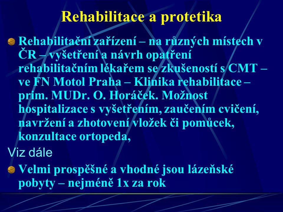 Rehabilitace a protetika Rehabilitační zařízení – na různých místech v ČR – vyšetření a návrh opatření rehabilitačním lékařem se zkušeností s CMT – ve