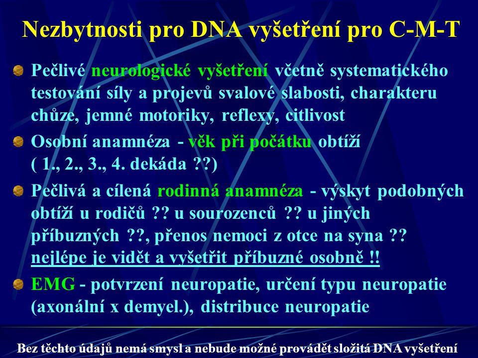 Nezbytnosti pro DNA vyšetření pro C-M-T Pečlivé neurologické vyšetření včetně systematického testování síly a projevů svalové slabosti, charakteru chů