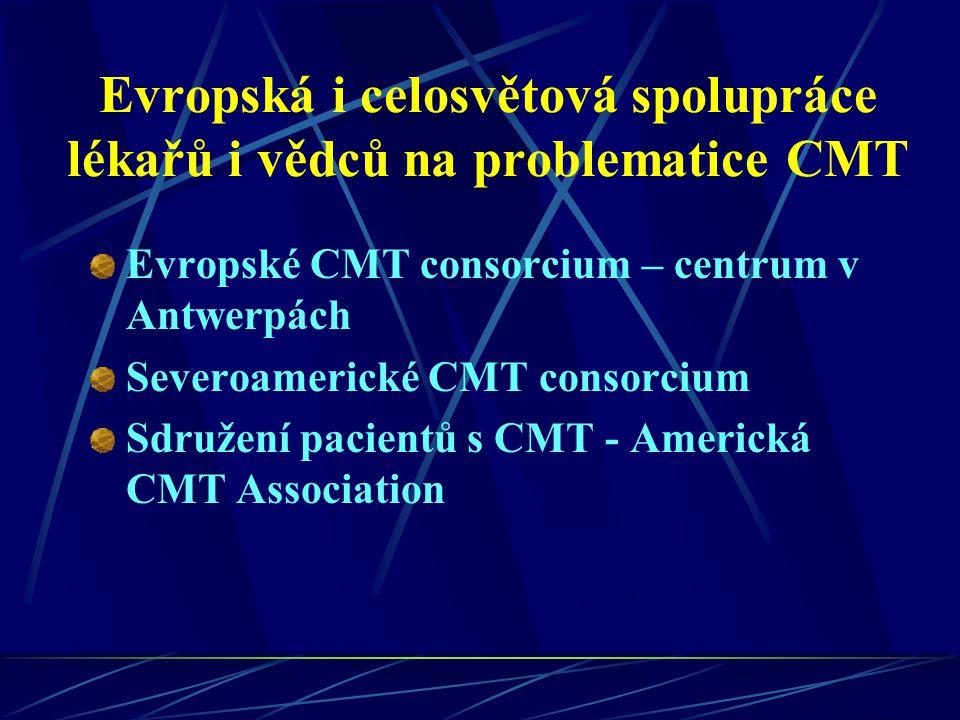 Evropská i celosvětová spolupráce lékařů i vědců na problematice CMT Evropské CMT consorcium – centrum v Antwerpách Severoamerické CMT consorcium Sdru