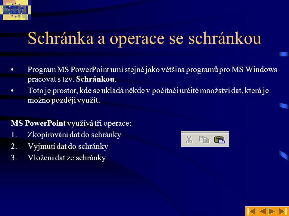 Schránka a operace se schránkou Program MS PowerPoint umí stejně jako většina programů pro MS Windows pracovat s tzv.
