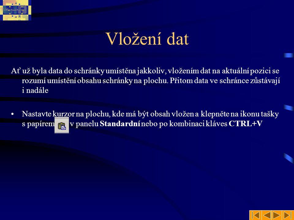 Vložení dat Ať už byla data do schránky umístěna jakkoliv, vložením dat na aktuální pozici se rozumí umístění obsahu schránky na plochu.