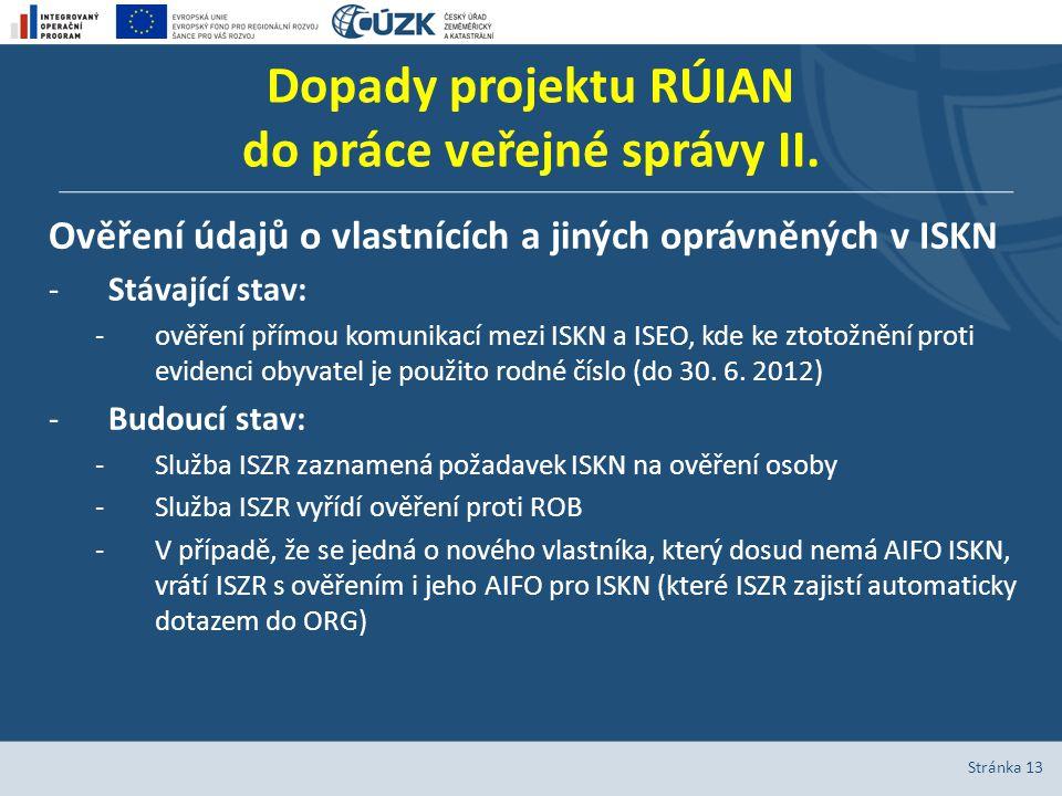 Dopady projektu RÚIAN do práce veřejné správy II. Ověření údajů o vlastnících a jiných oprávněných v ISKN -Stávající stav: -ověření přímou komunikací