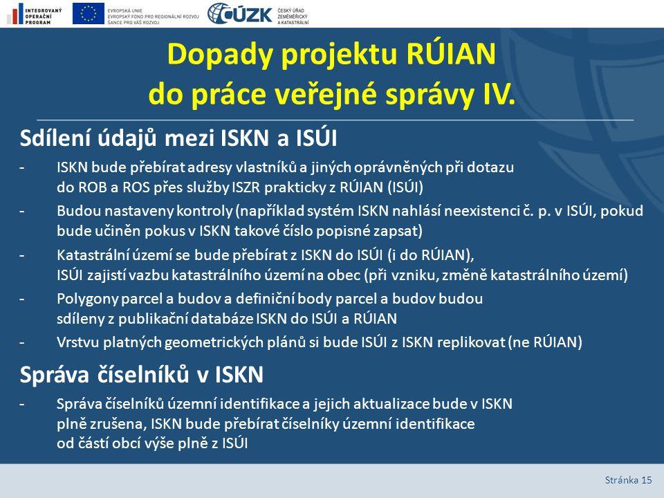 Dopady projektu RÚIAN do práce veřejné správy IV. Sdílení údajů mezi ISKN a ISÚI -ISKN bude přebírat adresy vlastníků a jiných oprávněných při dotazu
