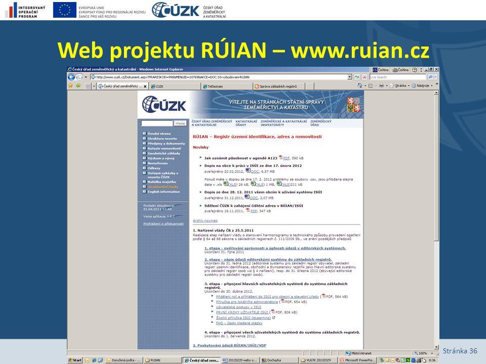 Web projektu RÚIAN – www.ruian.cz Stránka 36
