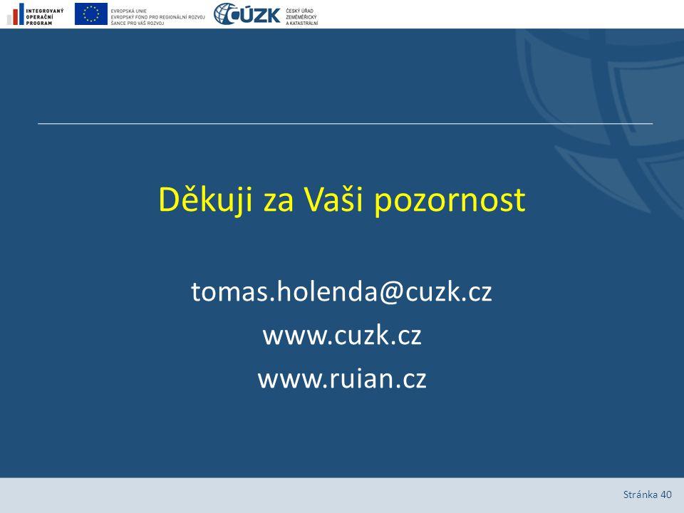 Stránka 40 Děkuji za Vaši pozornost tomas.holenda@cuzk.cz www.cuzk.cz www.ruian.cz