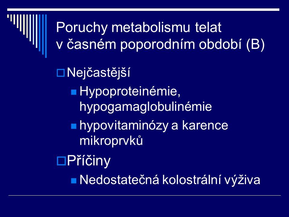 Poruchy metabolismu telat v časném poporodním období (B)  Nejčastější Hypoproteinémie, hypogamaglobulinémie hypovitaminózy a karence mikroprvků  Pří