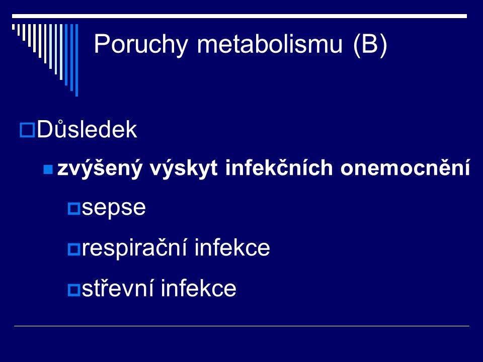 Poruchy metabolismu (B)  Důsledek zvýšený výskyt infekčních onemocnění  sepse  respirační infekce  střevní infekce