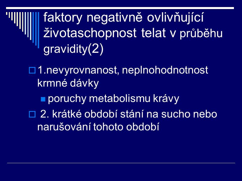 faktory negativně ovlivňující životaschopnost telat v průběhu gravidity (2)  1.nevyrovnanost, neplnohodnotnost krmné dávky poruchy metabolismu krávy