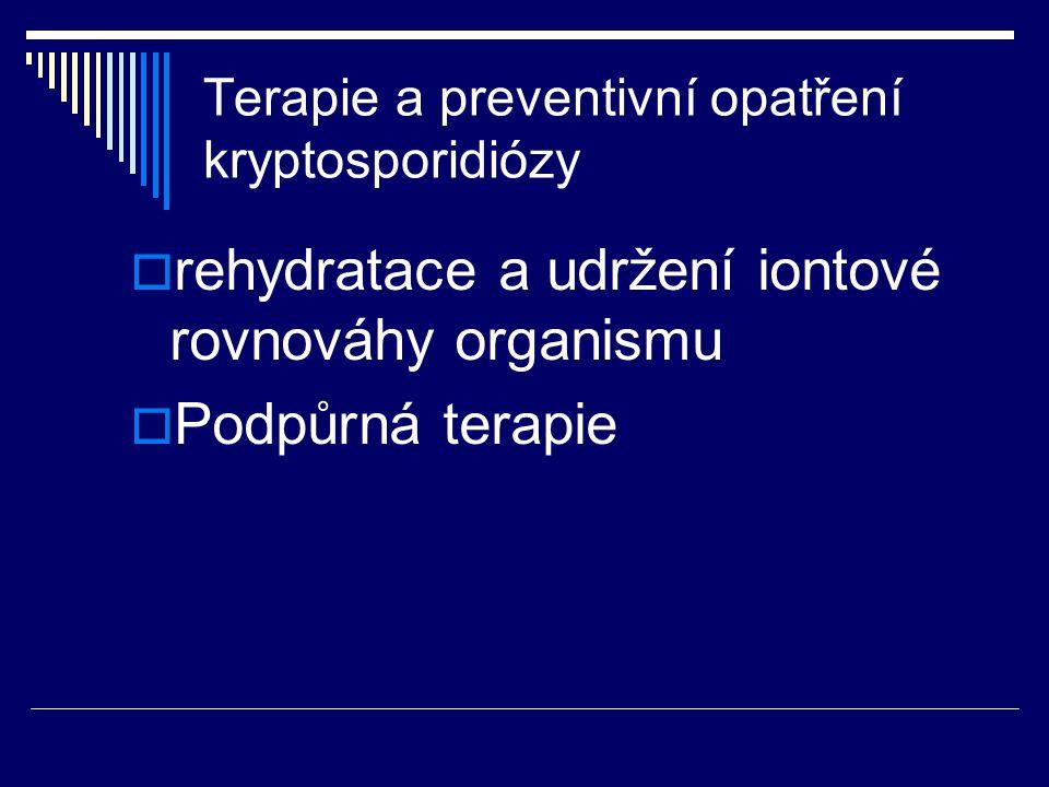 Terapie a preventivní opatření kryptosporidiózy  rehydratace a udržení iontové rovnováhy organismu  Podpůrná terapie