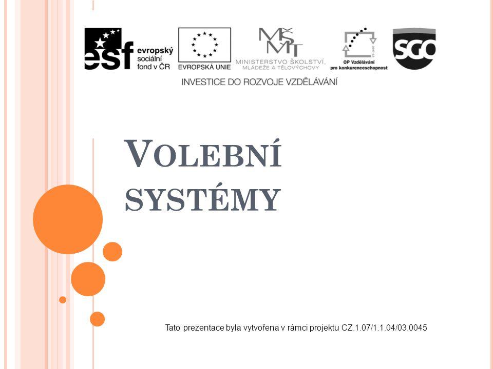 V OLEBNÍ SYSTÉMY Tato prezentace byla vytvořena v rámci projektu CZ.1.07/1.1.04/03.0045