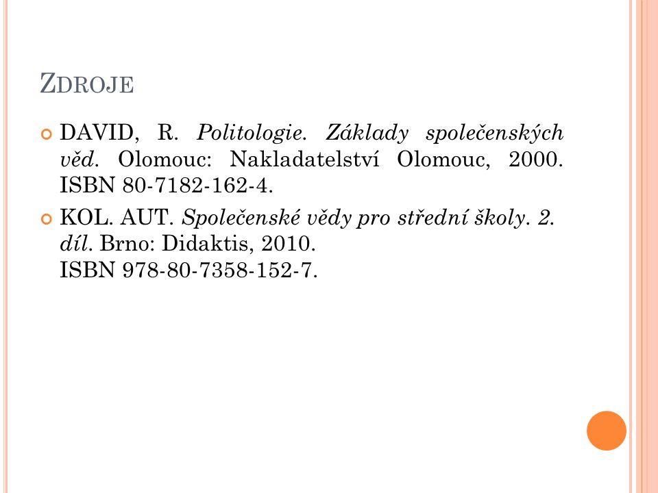 Z DROJE DAVID, R. Politologie. Základy společenských věd.