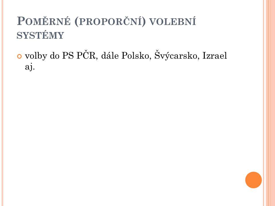 P OMĚRNÉ ( PROPORČNÍ ) VOLEBNÍ SYSTÉMY volby do PS PČR, dále Polsko, Švýcarsko, Izrael aj.