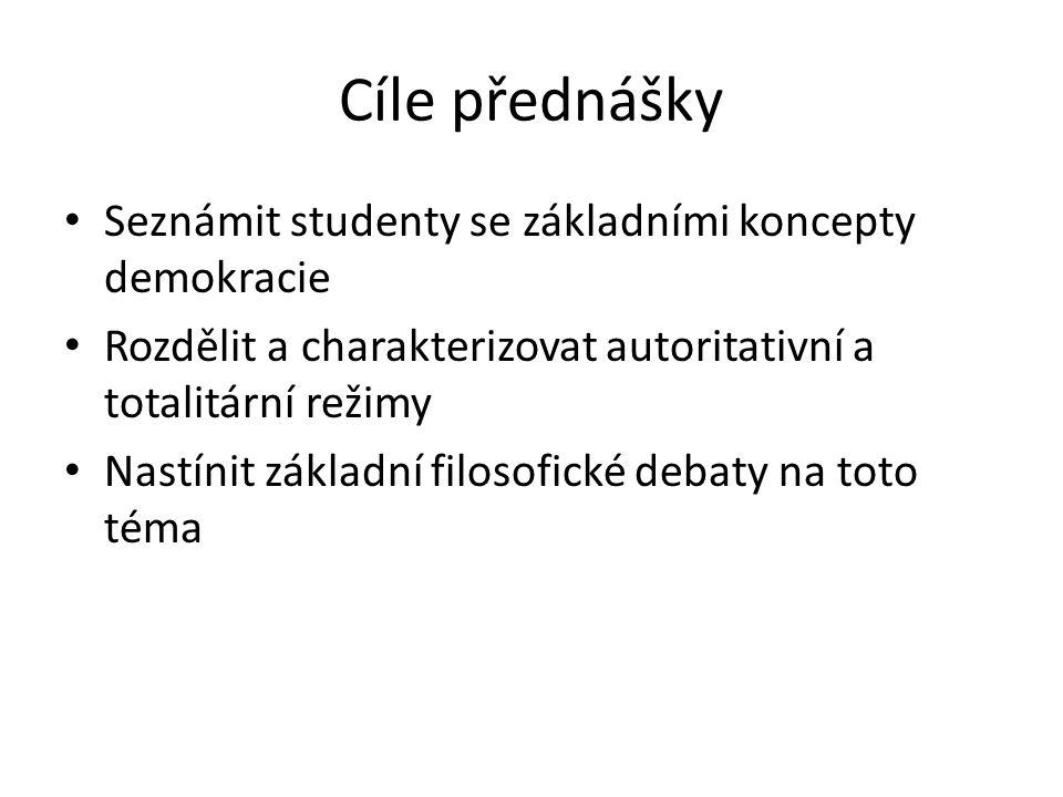 Cíle přednášky Seznámit studenty se základními koncepty demokracie Rozdělit a charakterizovat autoritativní a totalitární režimy Nastínit základní filosofické debaty na toto téma