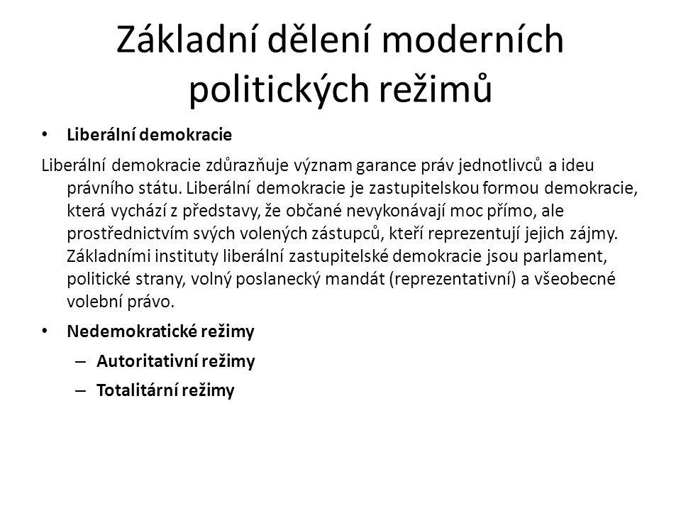 Základní dělení moderních politických režimů Liberální demokracie Liberální demokracie zdůrazňuje význam garance práv jednotlivců a ideu právního státu.