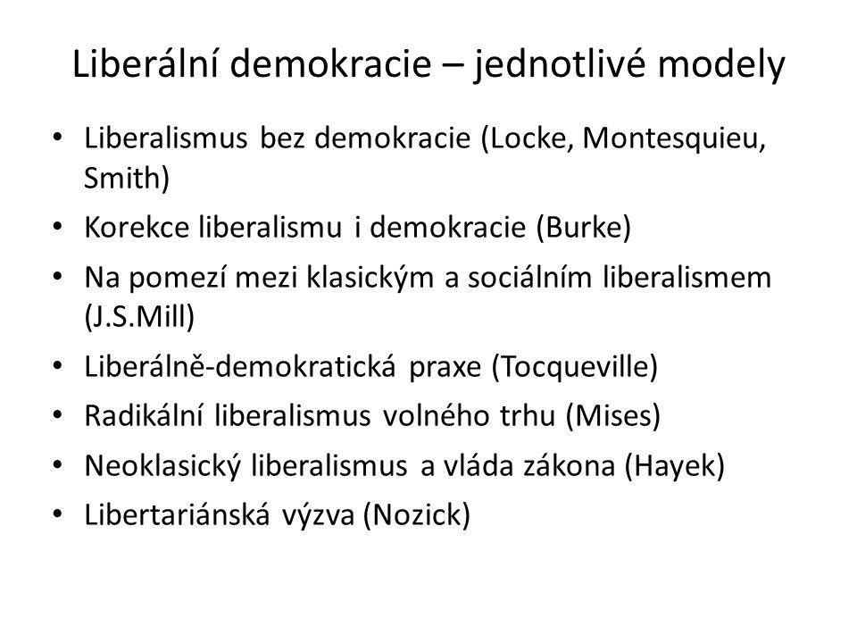 Liberální demokracie – jednotlivé modely Liberalismus bez demokracie (Locke, Montesquieu, Smith) Korekce liberalismu i demokracie (Burke) Na pomezí mezi klasickým a sociálním liberalismem (J.S.Mill) Liberálně-demokratická praxe (Tocqueville) Radikální liberalismus volného trhu (Mises) Neoklasický liberalismus a vláda zákona (Hayek) Libertariánská výzva (Nozick)