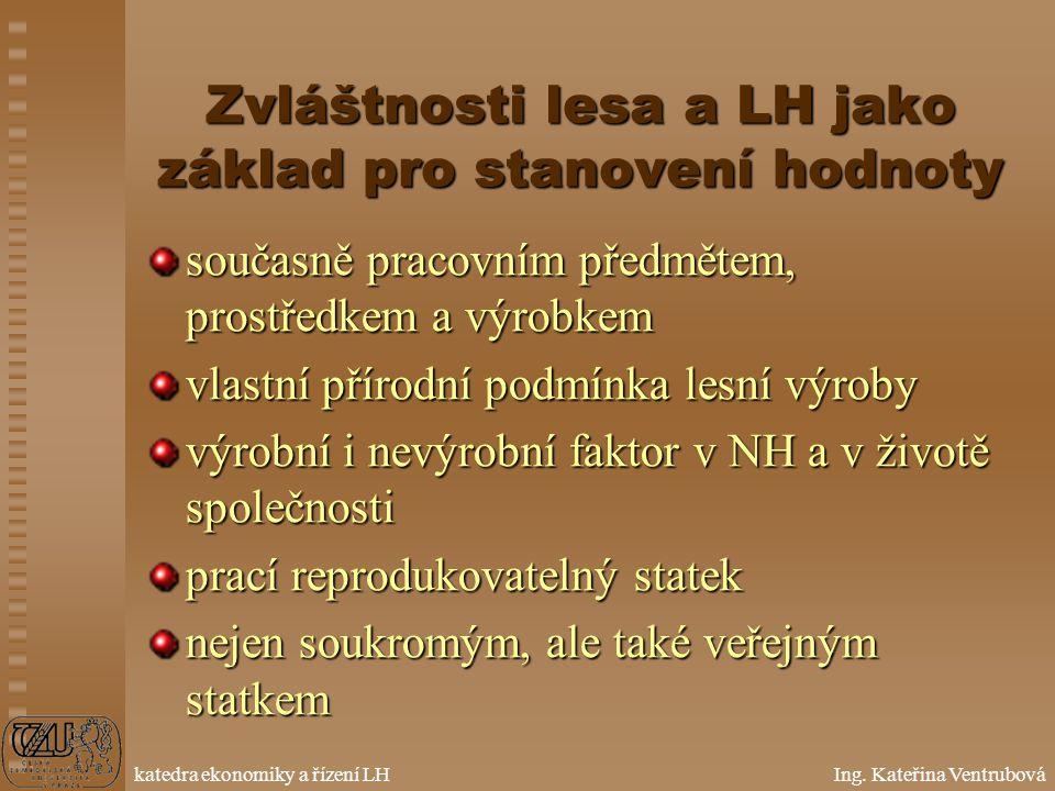 Oceňování lesa ZS 2005 Přednášky: Prof. Ing. Luděk Šišák, CSc. Cvičení: Ing. Kateřina Ventrubová