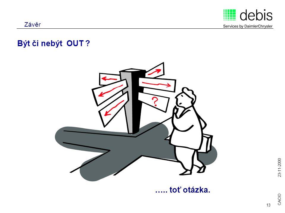 CACIO 23-11-2000 13 Závěr Být či nebýt OUT ? ….. toť otázka.