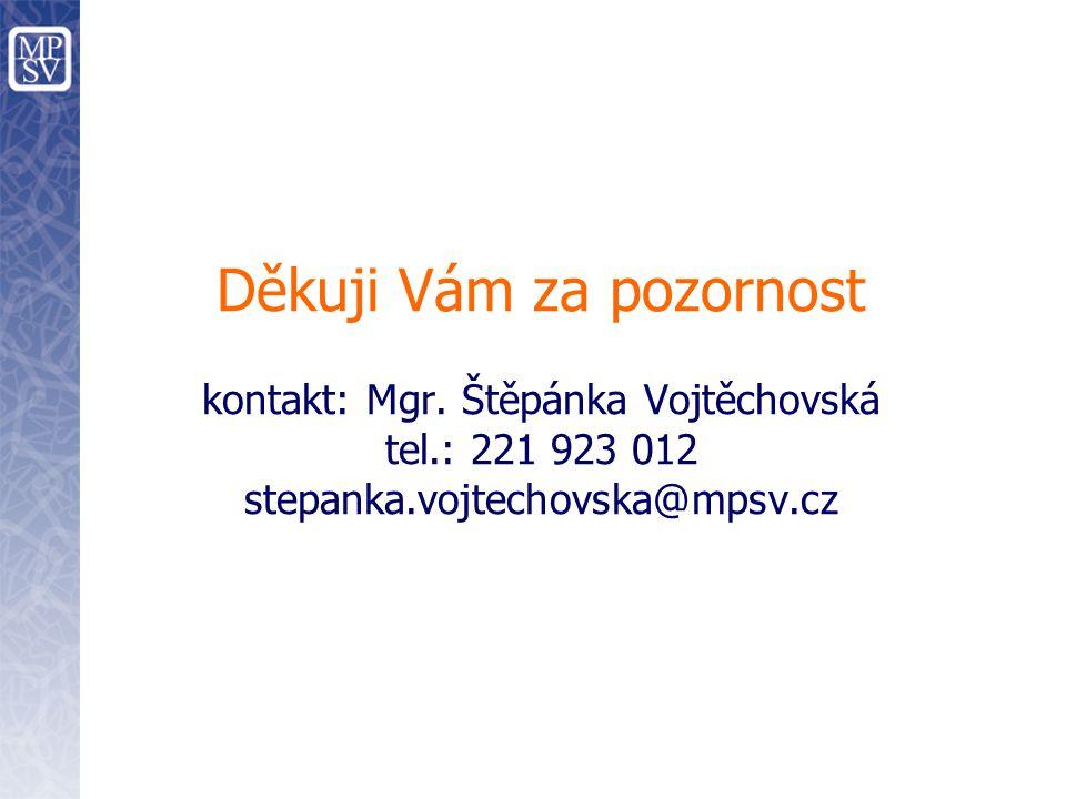 Děkuji Vám za pozornost kontakt: Mgr. Štěpánka Vojtěchovská tel.: 221 923 012 stepanka.vojtechovska@mpsv.cz