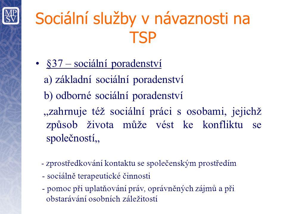 """Sociální služby v návaznosti na TSP §37 – sociální poradenství a) základní sociální poradenství b) odborné sociální poradenství """"zahrnuje též sociální"""