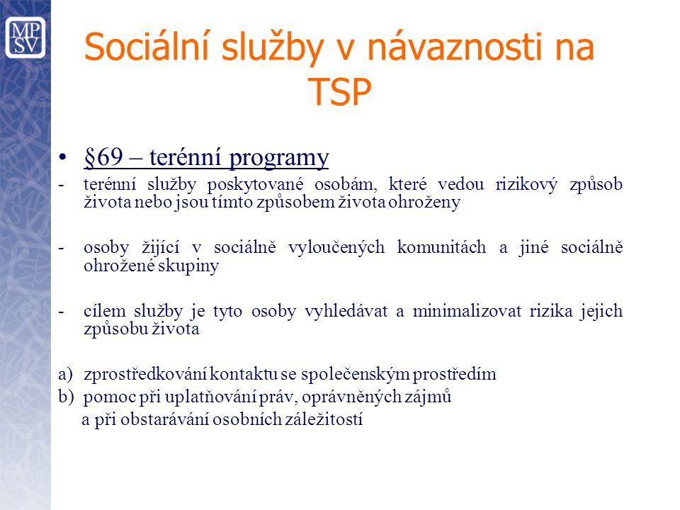 Sociální služby v návaznosti na TSP §69 – terénní programy -terénní služby poskytované osobám, které vedou rizikový způsob života nebo jsou tímto způs