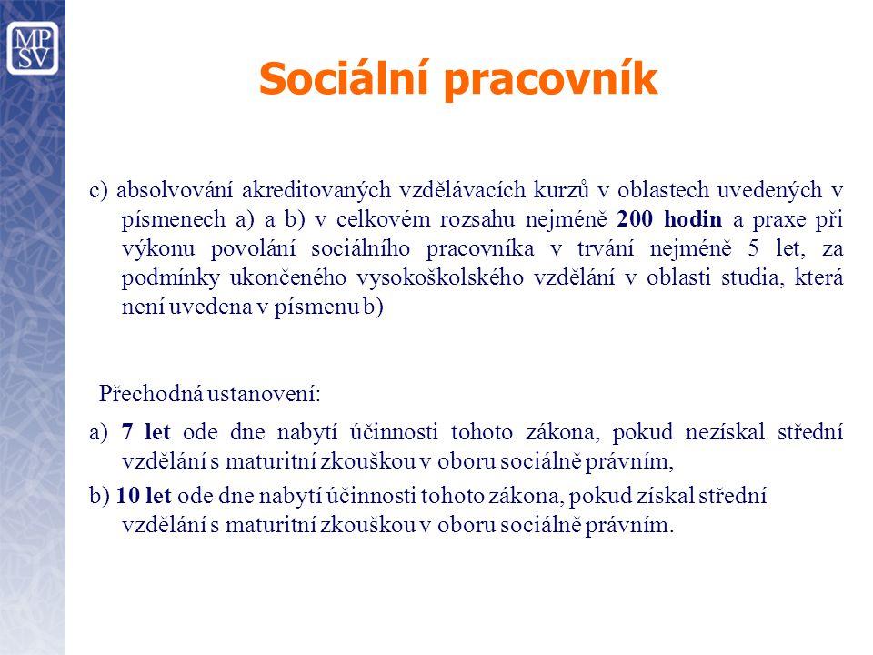 Sociální pracovník c) absolvování akreditovaných vzdělávacích kurzů v oblastech uvedených v písmenech a) a b) v celkovém rozsahu nejméně 200 hodin a p