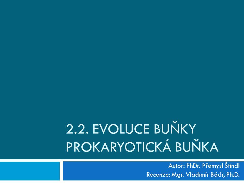 2.2. EVOLUCE BUŇKY PROKARYOTICKÁ BUŇKA Autor: PhDr. Přemysl Štindl Recenze: Mgr. Vladimír Bádr, Ph.D.