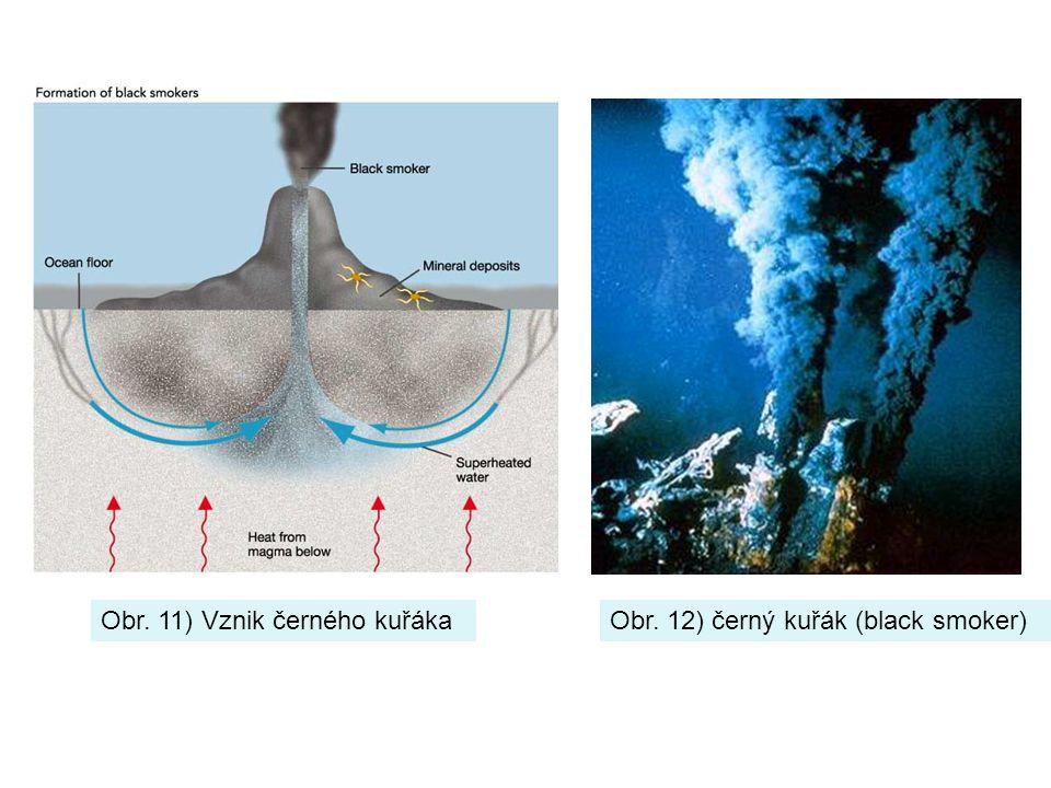 Obr. 11) Vznik černého kuřákaObr. 12) černý kuřák (black smoker)