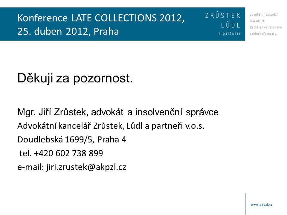 Konference LATE COLLECTIONS 2012, 25. duben 2012, Praha Děkuji za pozornost.