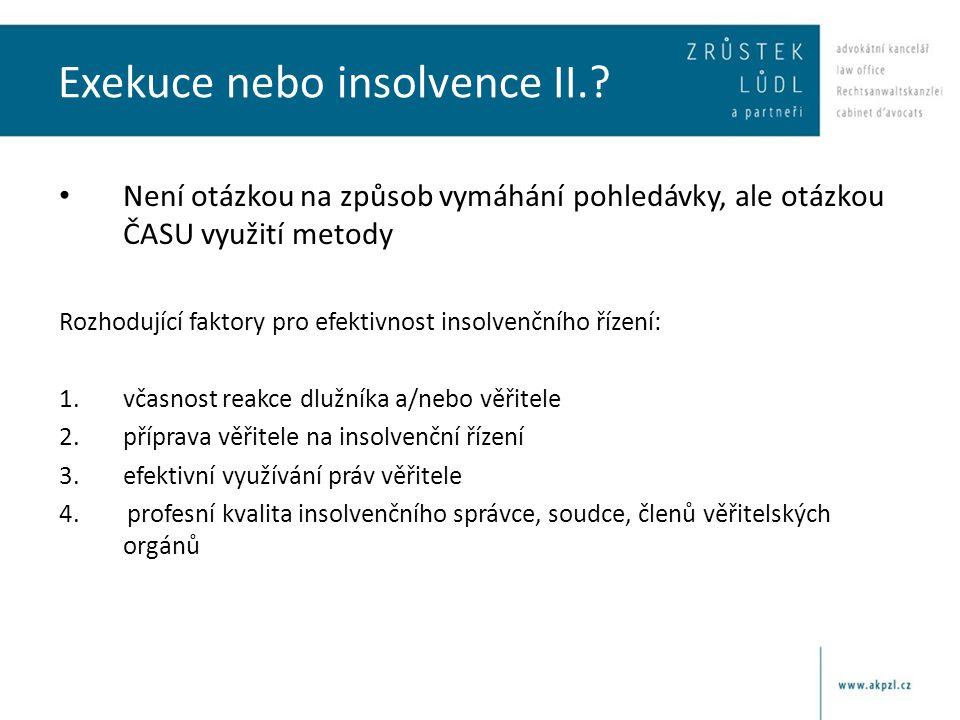 Vztah exekuce a insolvenčního řízení I.§ 109 odst.