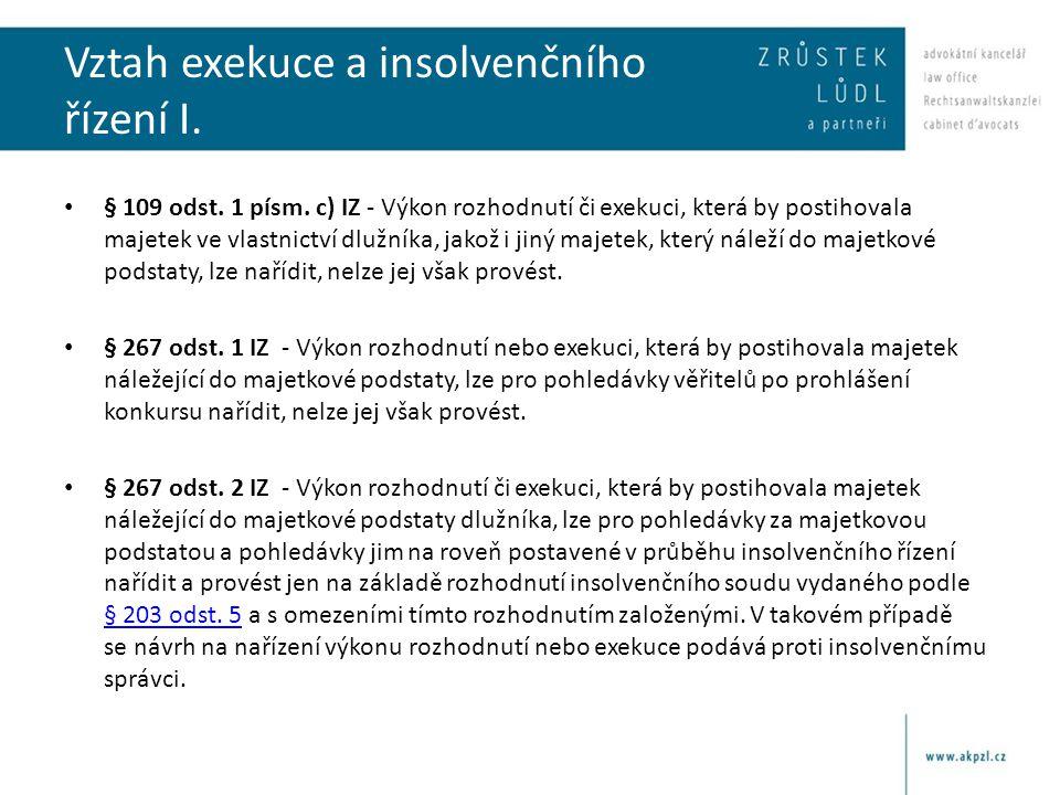 Vztah exekuce a insolvenčního řízení I. § 109 odst.