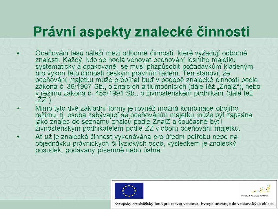 Právní aspekty znalecké činnosti Oceňování lesů náleží mezi odborné činnosti, které vyžadují odborné znalosti. Každý, kdo se hodlá věnovat oceňování l