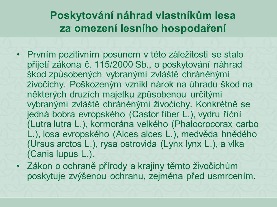 Poskytování náhrad vlastníkům lesa za omezení lesního hospodaření Prvním pozitivním posunem v této záležitosti se stalo přijetí zákona č. 115/2000 Sb.