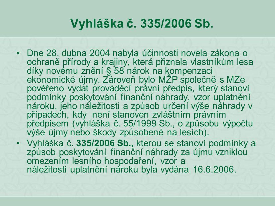 Vyhláška č. 335/2006 Sb. Dne 28. dubna 2004 nabyla účinnosti novela zákona o ochraně přírody a krajiny, která přiznala vlastníkům lesa díky novému zně