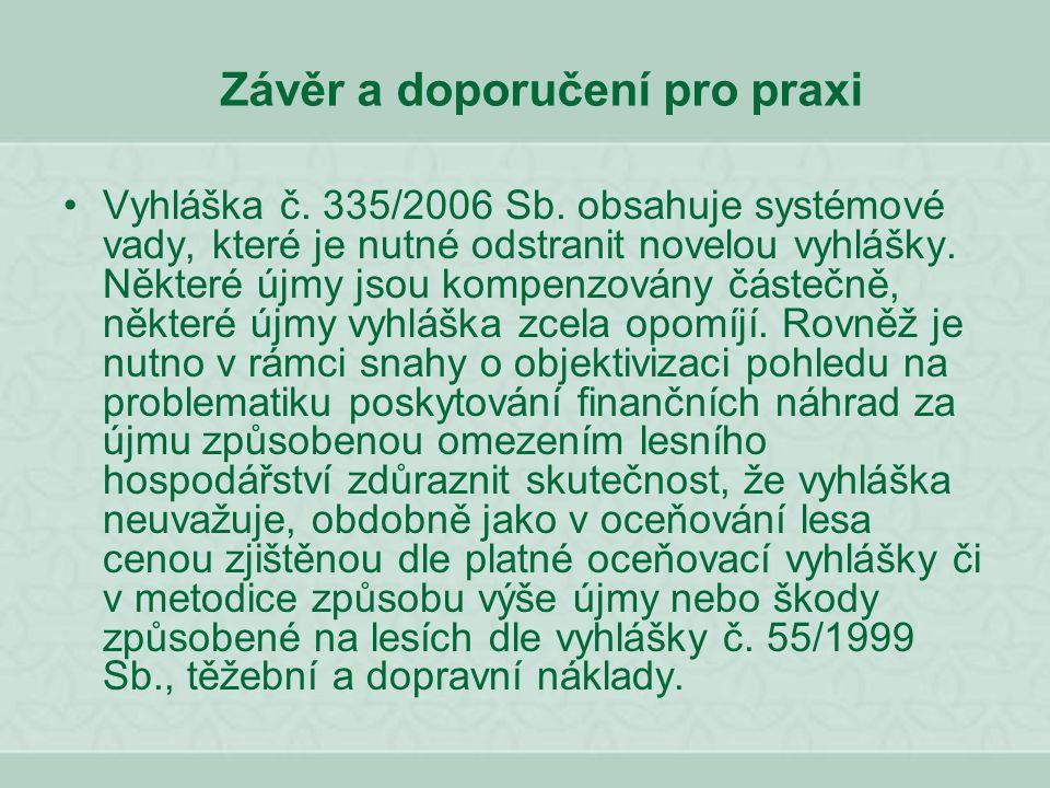 Závěr a doporučení pro praxi Vyhláška č. 335/2006 Sb. obsahuje systémové vady, které je nutné odstranit novelou vyhlášky. Některé újmy jsou kompenzová