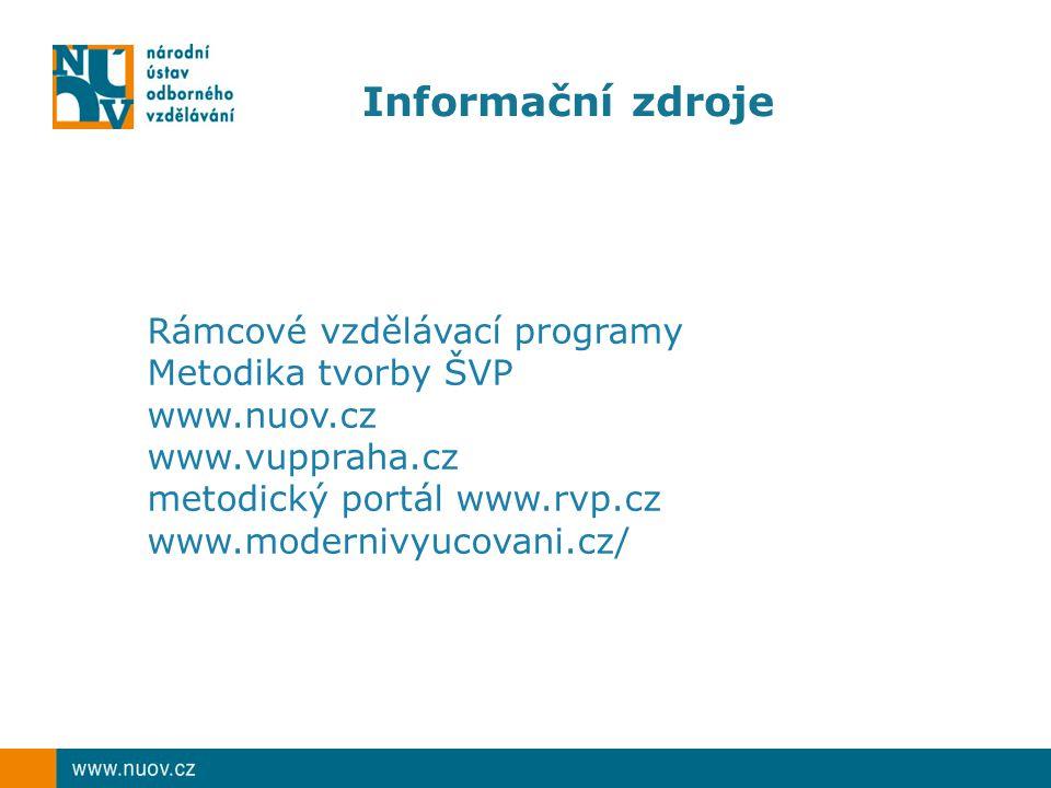 Informační zdroje Rámcové vzdělávací programy Metodika tvorby ŠVP www.nuov.cz www.vuppraha.cz metodický portál www.rvp.cz www.modernivyucovani.cz/