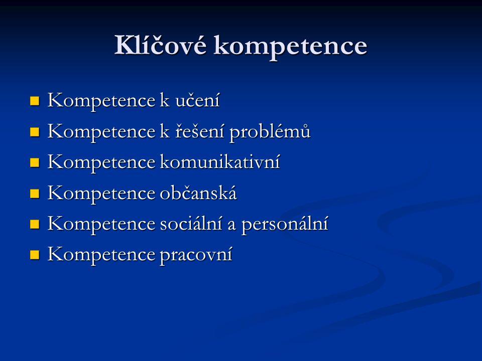 Klíčové kompetence Kompetence k učení Kompetence k učení Kompetence k řešení problémů Kompetence k řešení problémů Kompetence komunikativní Kompetence komunikativní Kompetence občanská Kompetence občanská Kompetence sociální a personální Kompetence sociální a personální Kompetence pracovní Kompetence pracovní