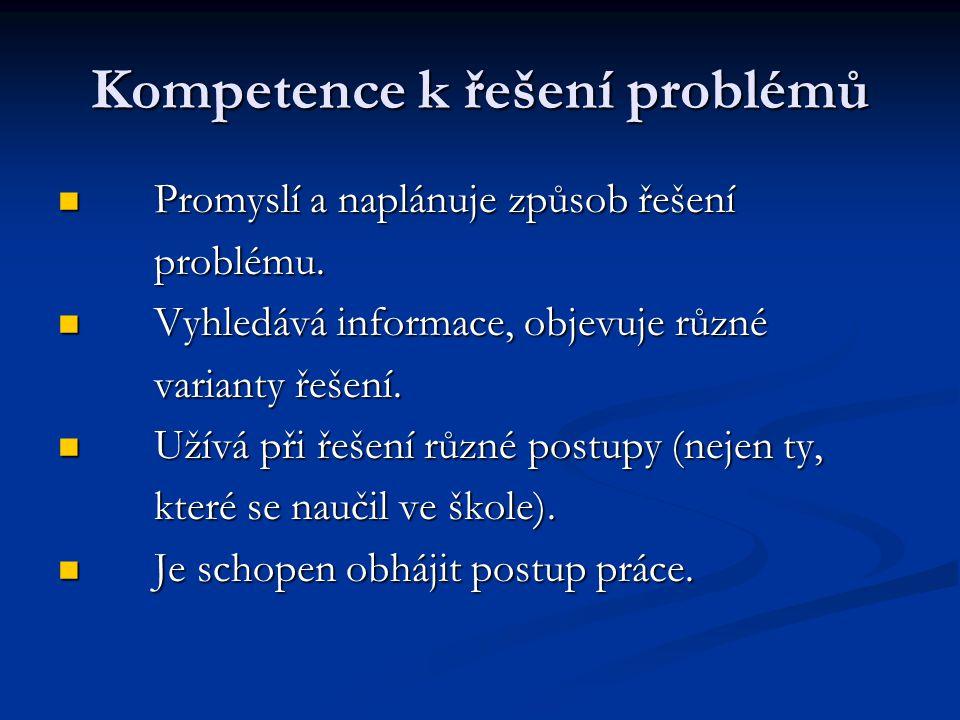 Kompetence k řešení problémů Promyslí a naplánuje způsob řešení Promyslí a naplánuje způsob řešení problému.