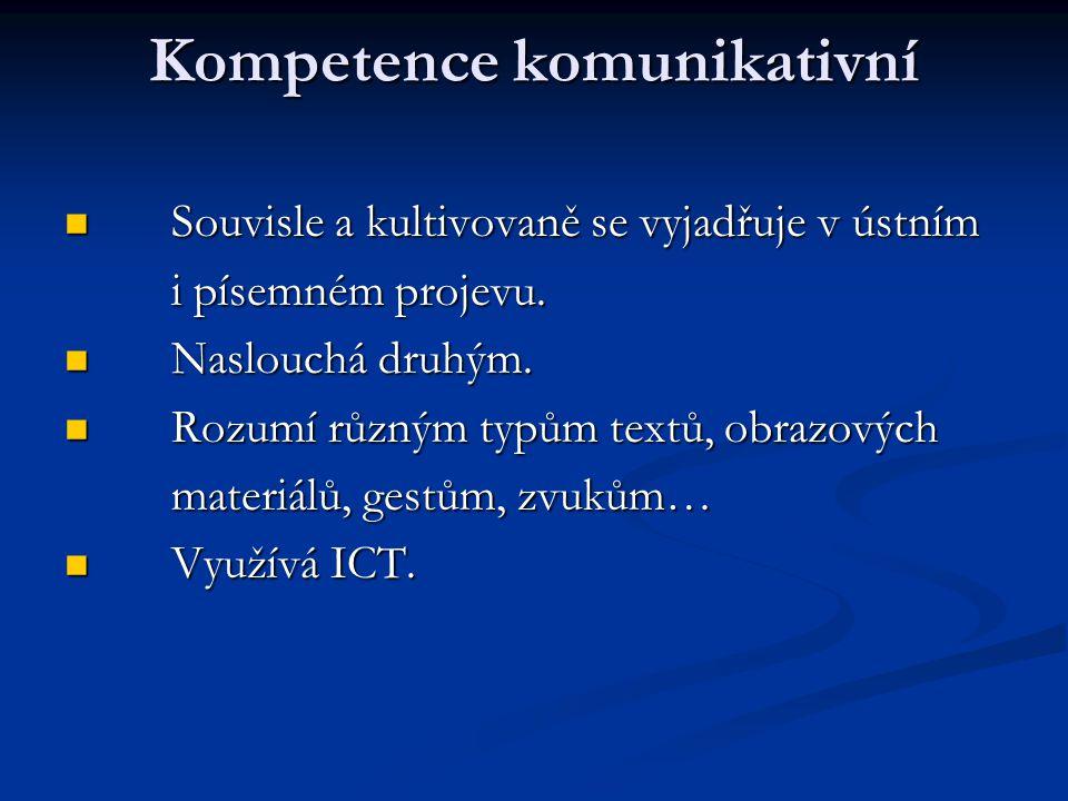 Kompetence komunikativní Souvisle a kultivovaně se vyjadřuje v ústním Souvisle a kultivovaně se vyjadřuje v ústním i písemném projevu.