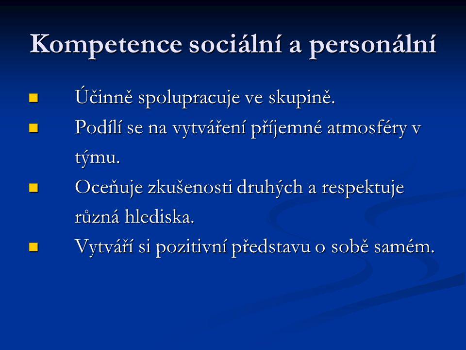 Kompetence sociální a personální Účinně spolupracuje ve skupině.